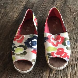 Toms Open Toe Espadrilles Tangerine Watercolor 7.5